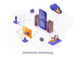 banner web isométrico de tecnología de centro de datos.