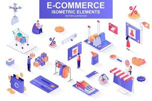 E-commerce bundle of isometric elements. vector