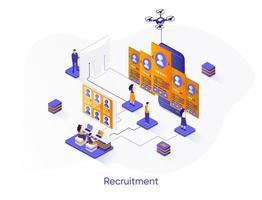 Recruitment isometric web banner. vector