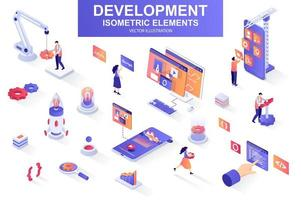 Development company bundle of isometric elements. vector