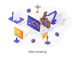 Web scraping isometric web banner. vector