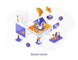 Smart home isometric web banner. vector