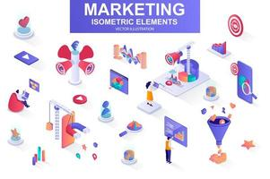 Marketing strategy bundle of isometric elements. vector