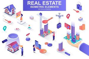Real estate bundle of isometric elements. vector