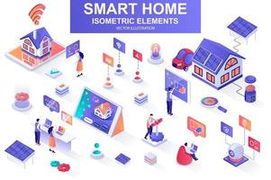 Smart home bundle of isometric elements. vector