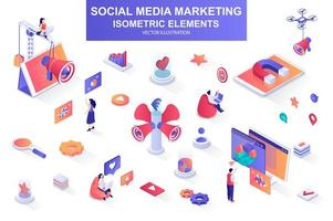 Social media marketing bundle of isometric elements. vector