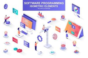 Software programming bundle of isometric elements. vector