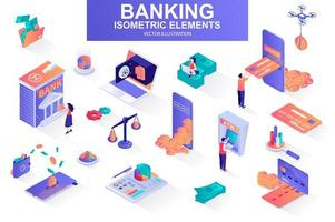 Banking services bundle of isometric elements. vector