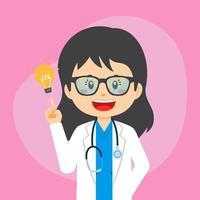 doctor muestra gesto de gran idea vector