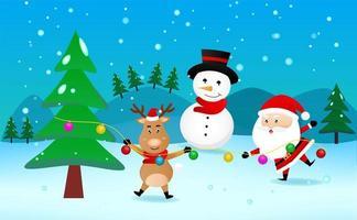 Cheerful Reindeer Santa and Snowman with Christmas Tree