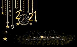 Happy New Year 2021 glitter and gold text design vector