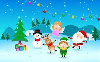 Christmas scene with Santa, snowman, reindeer, angel and elf