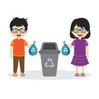 Characters Throwing Away Trash vector