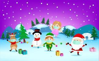 personajes navideños enmascarados en paisaje de invierno