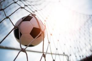 Soccer ball soars into goal net