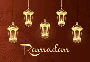 Ramadan celebration banner with gold lamps