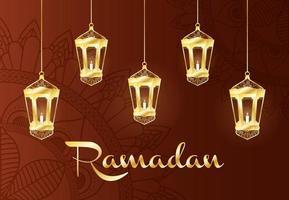 Banner de celebración de Ramadán con lámparas de oro.