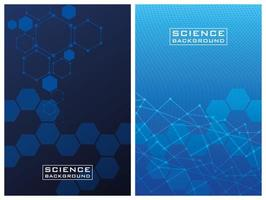Blue science background set with lines and structures