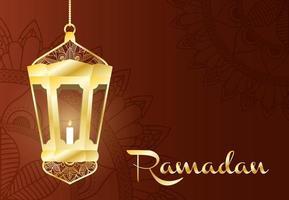 banner de celebración de ramadán con lámpara de oro