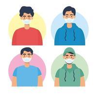 personajes de hombres jóvenes con mascarillas