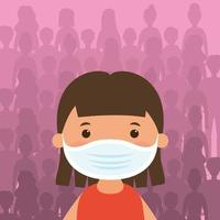 Young girl character with a face mask vector