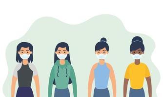 personajes de mujeres jóvenes con mascarillas