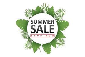 Banner de venta de verano con un círculo de hojas verdes. vector