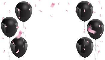 confeti rosa y globos negros vector