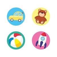 conjunto de iconos de juguete