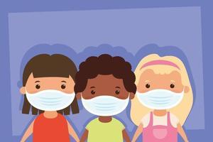 personajes de niños pequeños con mascarillas