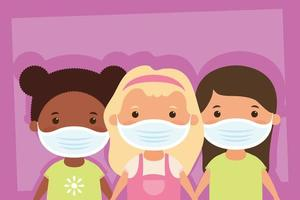 Young girls characters with face masks vector