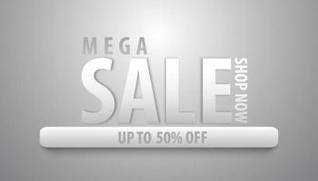 banner de mega venta de plata vector