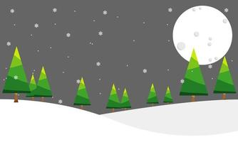 Background of pine forest in winter at night vector
