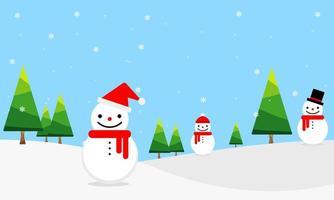 fondo de pinos y muñecos de nieve en invierno vector