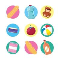 Toys and food icon set vector
