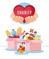 Banner de caridad y donación con comida y juguetes. vector