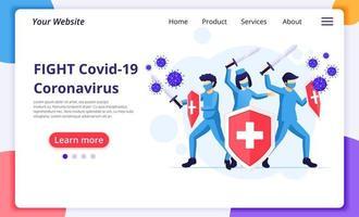 médicos que luchan contra el virus covid-19