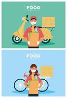 Safe food delivery workers with groceries bags vector