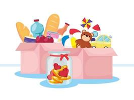 Charity and donation banner with food and toys vector