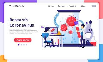 Research laboratory concept for Covid-19 Corona virus with scientists working at medicine laboratorium. Modern flat web page design for website and mobile website development. Vector illustration