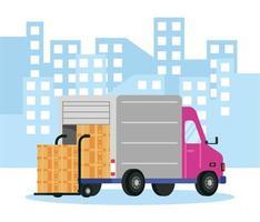 Composición del servicio de entrega con camión y paquetes.