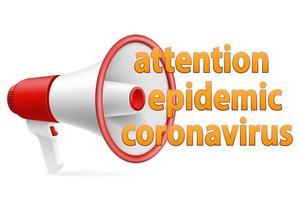 megáfono atención epidemia anuncio de coronavirus vector