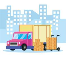 Delivery service composition with truck and packages vector