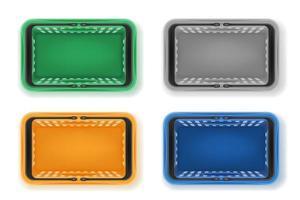 conjunto de cesta de plástico vector