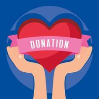 Charity and donation banner with heart vector