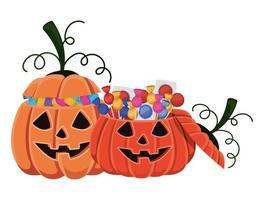 Dibujos animados de calabazas de halloween con diseño de caramelos