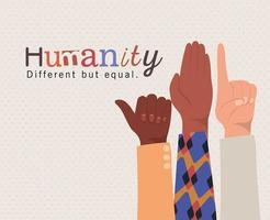 Humanity different but equal and diversity hands