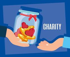 Charity and donation banner with full jar vector