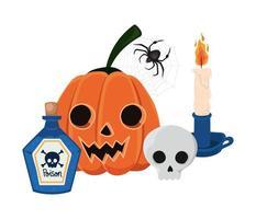 calabaza de halloween dibujos animados cráneo vela araña y veneno