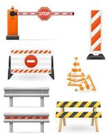 Road barriers to restrict traffic set vector